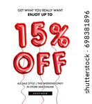15 percent  off discount... | Shutterstock . vector #698381896