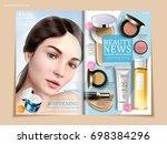 refreshing cosmetic brochure... | Shutterstock .eps vector #698384296
