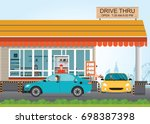 two cars getting food at a... | Shutterstock .eps vector #698387398