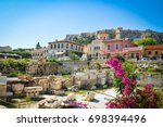 the old town of athens  greece...   Shutterstock . vector #698394496