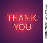 neon realistic words 'thank you'... | Shutterstock .eps vector #698396662