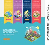 infographic isometric city | Shutterstock .eps vector #698397112