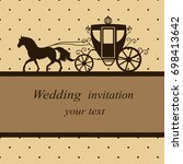 invitation card with carriage... | Shutterstock . vector #698413642