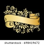 gold vintage ribbon banner with ... | Shutterstock .eps vector #698419672