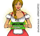 young sexy waitress in... | Shutterstock .eps vector #698424952