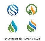 logos of green leaf ecology... | Shutterstock .eps vector #698434126