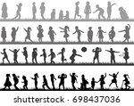 silhouette children collection | Shutterstock .eps vector #698437036
