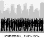 vector  silhouette of a crowd... | Shutterstock .eps vector #698437042