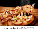 Small photo of Slice of pizza cheese crust seafood topping sauce. with bell pepper vegetables delicious tasty fast food italian traditional and soft drink carbonated fresh on wooden board table classic and smoke