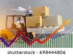 forklift truck with boxes... | Shutterstock . vector #698444806