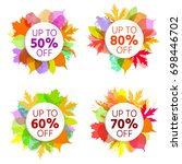 autumn sale poster with... | Shutterstock .eps vector #698446702