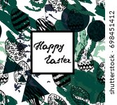 easter greeting card with hand... | Shutterstock .eps vector #698451412