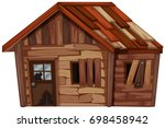 wooden house in bad condition... | Shutterstock .eps vector #698458942
