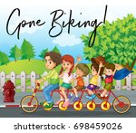 family ride bike on road with... | Shutterstock .eps vector #698459026