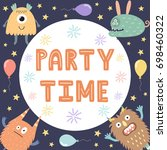 party time card print with cute ... | Shutterstock .eps vector #698460322