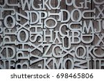 a set of letters on wooden... | Shutterstock . vector #698465806