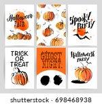 halloween watercolor hand drawn ... | Shutterstock . vector #698468938
