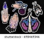 set of macabre  magic  eerie ... | Shutterstock .eps vector #698469346