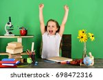 back to school and childhood... | Shutterstock . vector #698472316