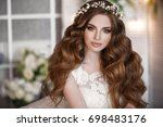 gorgeous beauty young bride... | Shutterstock . vector #698483176