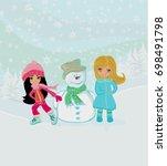 little girls and snowman    Shutterstock . vector #698491798