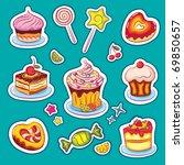 beautiful sweets set | Shutterstock .eps vector #69850657