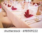 wedding dinner table | Shutterstock . vector #698509222