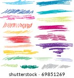 Set of colored brush strokes of pastel
