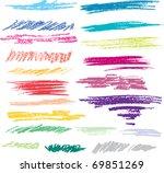 set of colored brush strokes of ... | Shutterstock .eps vector #69851269