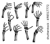 set of hand skeleton shows the... | Shutterstock .eps vector #698517772