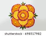 flower rangoli for diwali or... | Shutterstock . vector #698517982