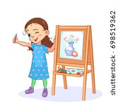 cartoon little girl draws a... | Shutterstock .eps vector #698519362