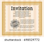 orange formal invitation. with... | Shutterstock .eps vector #698529772