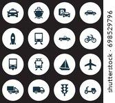 transportation icons set.... | Shutterstock .eps vector #698529796