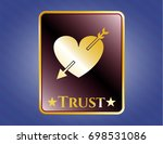 gold shiny badge with heart... | Shutterstock .eps vector #698531086