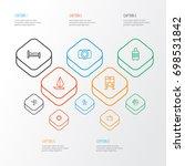 traveling outline icons set.... | Shutterstock .eps vector #698531842