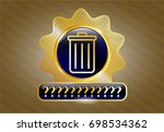 gold emblem or badge with... | Shutterstock .eps vector #698534362