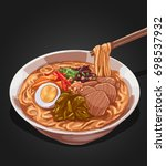 vector illustration of ramen... | Shutterstock .eps vector #698537932