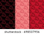 red set of geometric seamless... | Shutterstock .eps vector #698537956