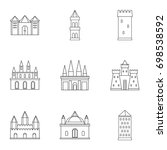 castles and towers icon set.... | Shutterstock .eps vector #698538592