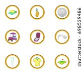 golf holiday icons set. cartoon ... | Shutterstock .eps vector #698539486
