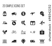 set of 20 editable mixed icons. ... | Shutterstock .eps vector #698542252