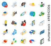 contact us icons set. isometric ... | Shutterstock .eps vector #698542306