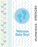 a boy birth announcement with... | Shutterstock .eps vector #69854284