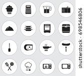 set of 16 editable kitchen... | Shutterstock .eps vector #698546806