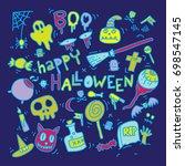 hand drawn sketch of halloween... | Shutterstock .eps vector #698547145