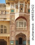 Small photo of Jaipur, India - March 11, 2015: Impressive adornment of Ganesh Pol Entrance at Amber Fort