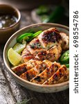 delicious bowl of grilled jerk... | Shutterstock . vector #698554786