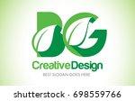 bg green leaf letter design...