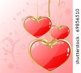 volume hearts with gold ribbon   Shutterstock .eps vector #69856510